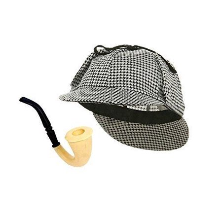 Funny Party Hats Detective Hat and Pipe - Sherlock Holmes Kit - Sherlock Homes Hat