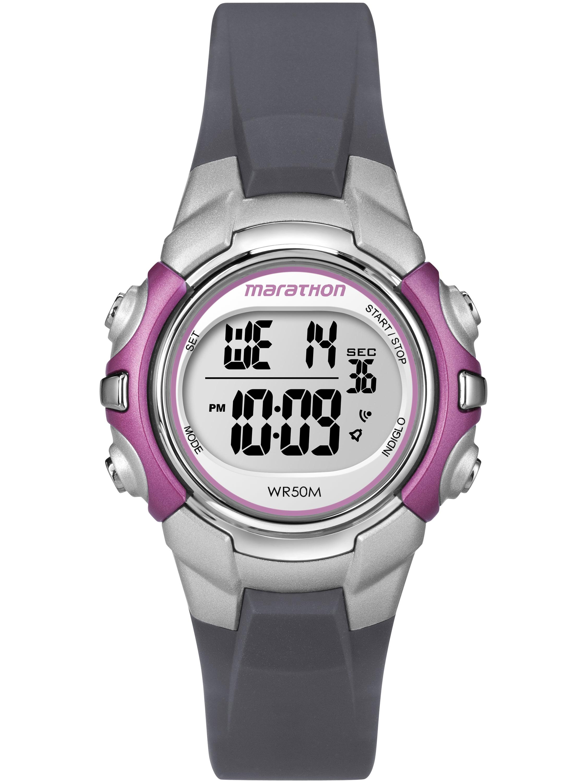 Marathon Women's Digital Mid-Size Watch, Gray Resin Strap