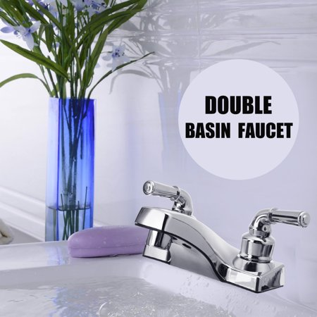 Double Handle Basin Spout Sink Bathroom Faucet 2 Hole Kitchen Cold Hot Mixer Tap ()