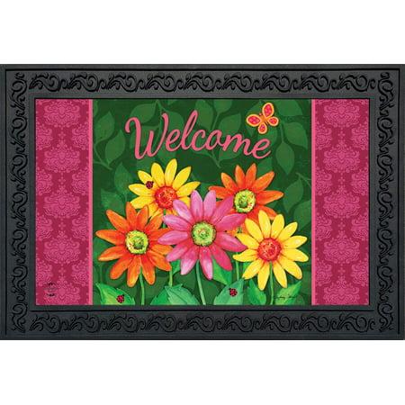 Welcome Daisies Spring Doormat Floral Indoor Outdoor 18