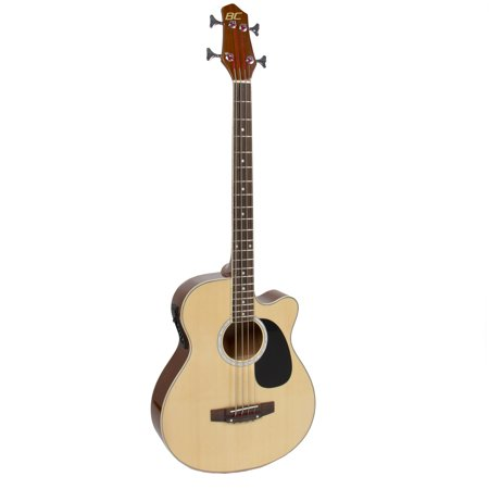 Electric Acoustic Bass Guitar Natural With Equalizer Solid Construction New by