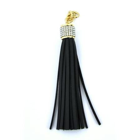 Belagio Black Faux Leather & Rhinestone Fashion Tassel, 3/4