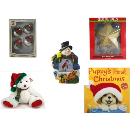 "Christmas Fun Gift Bundle [5 Piece] - Designers Studio Glass Ornaments Set of 4 - Deck The Halls Gold Star Tree Topper 11.5"" - Battery Lighted  Snowman Photo Frame - TY Classic  ""Garland"" the Bear 1"