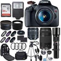 Canon EOS Rebel T7 DSLR Camera + Canon EF-S 18-55mm + Canon 75-300mm & 500mm Telephoto Lens + Wide Angle & Telephoto Lens + Macro Filter Kit + 64GB Memory + Accessory Kit