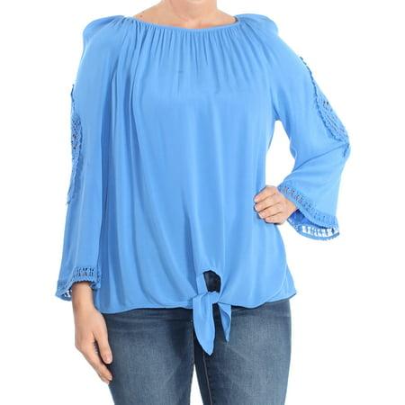 JM COLLECTION Womens Blue Tie  Crochet-trim Long Sleeve Square Neck Tunic Top Petites  Size: L