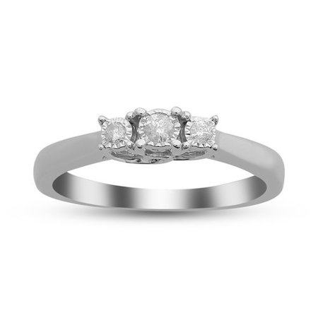 Foreverbride 925 Stainless Steel 1/10 Carat T.W. Diamond 3 Stone Engagement Ring