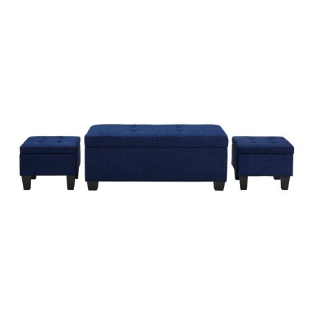 Picket House Everett 1pk Storage Ottoman in Blue