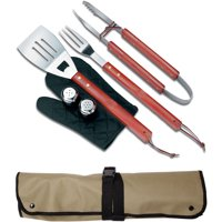 Chefs Kitchen, BBQ Apron and Utensil 7 Piece Set, Outdoor Apron with Utensil Holders