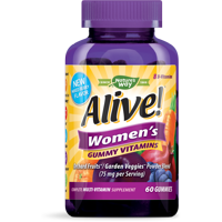 Alive! Women's Gummy Multi Vitamin 60 Count, Supplement with Orchard Fruits & Garden Veggies Powder Blend (75 mg per serving)