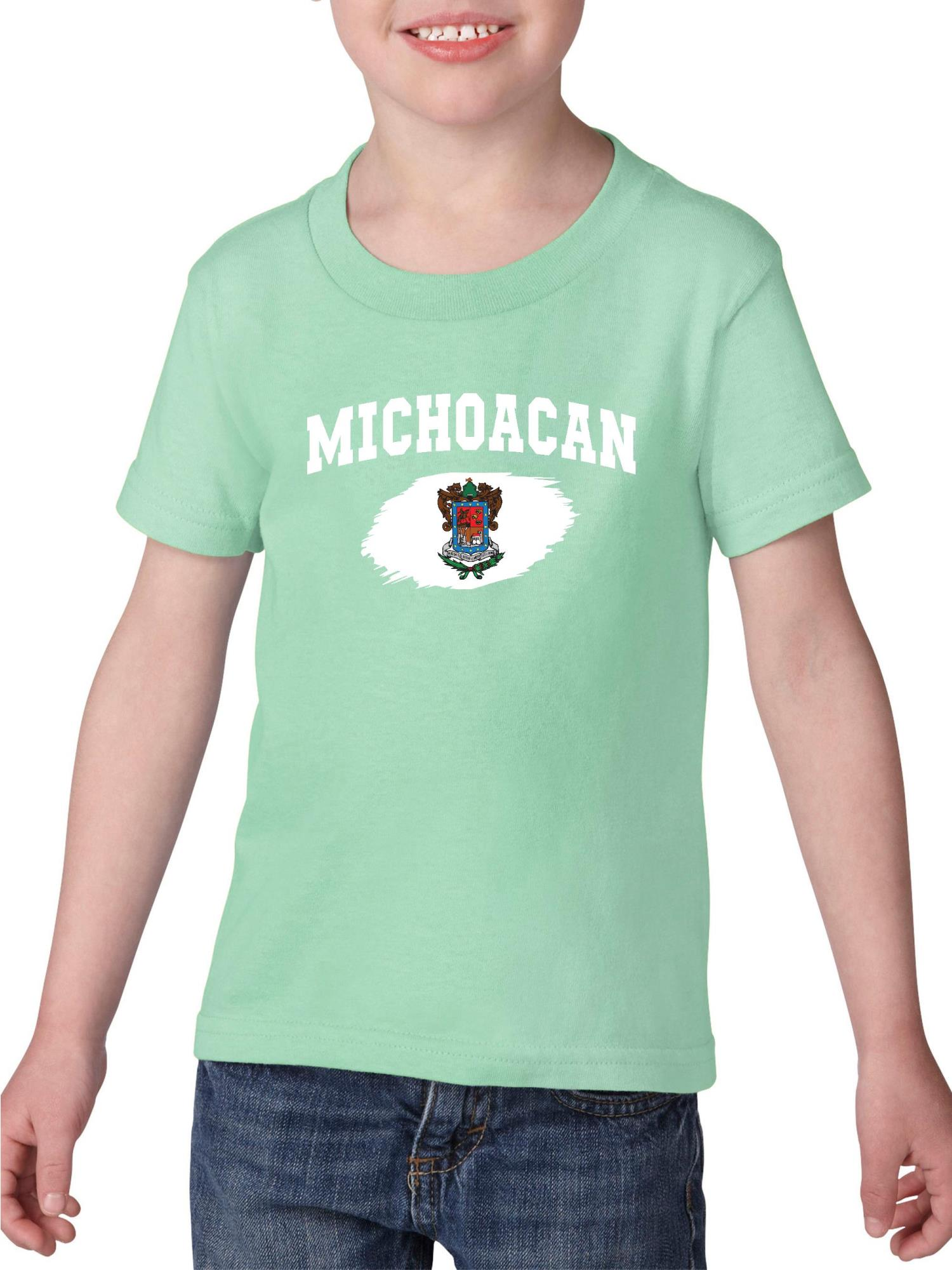 Mexico State of Michoacan Toddler Heavy Cotton T-Shirt Kids Tee Clothing