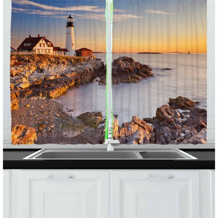 United States Curtains 2 Panels Set, Cape Elizabeth Maine River Portland Lighthouse Sunrise USA Coast Scenery, Window Drapes for Living Room Bedroom, 55W X 39L Inches, Pale Blue Tan, by Ambesonne