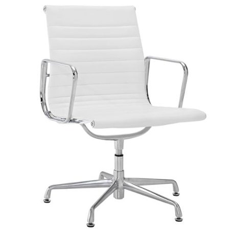 modway white genuine leather ribbed mid back conference