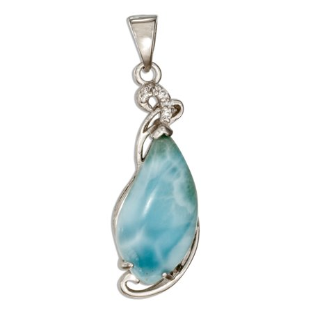 STERLING SILVER FANCY TEARDROP LARIMAR PENDANT WITH CUBIC ZIRCONIA ACCENTS ()