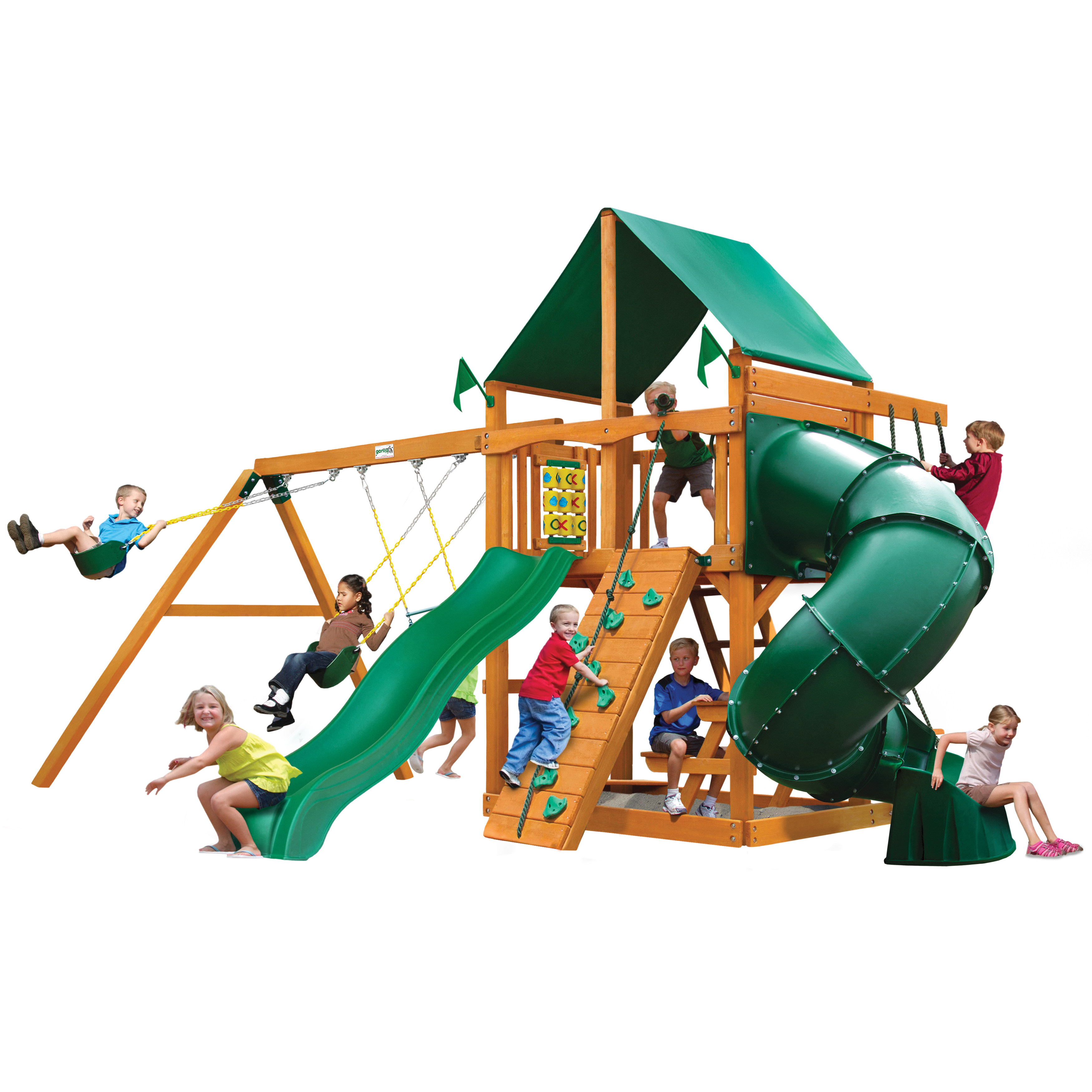 Gorilla Playsets Mountaineer Wooden Swing Set with Green Vinyl Canopy, Extreme Tube Slide, and Rock Climbing Wall