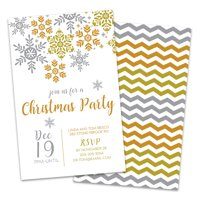 Personalized Silver & Gold Snowflake Christmas Party Invitation