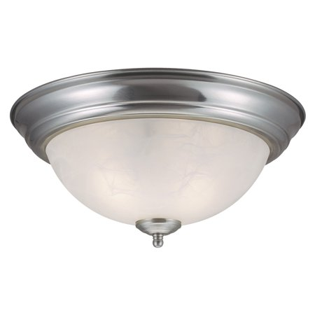 Design House 511550 Millbridge 2-Light Ceiling Light, Alabaster Glass, Satin Nickel