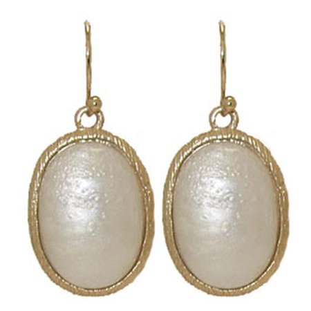 - Designer Jewelry ER7214 Oval Mother Of Pearl Set In Mate Gold - 1 In. Pack Of 2