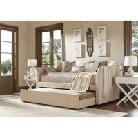 Chelsea Lane Curved Arm Linen Daybed with Trundle, Multiple Colors