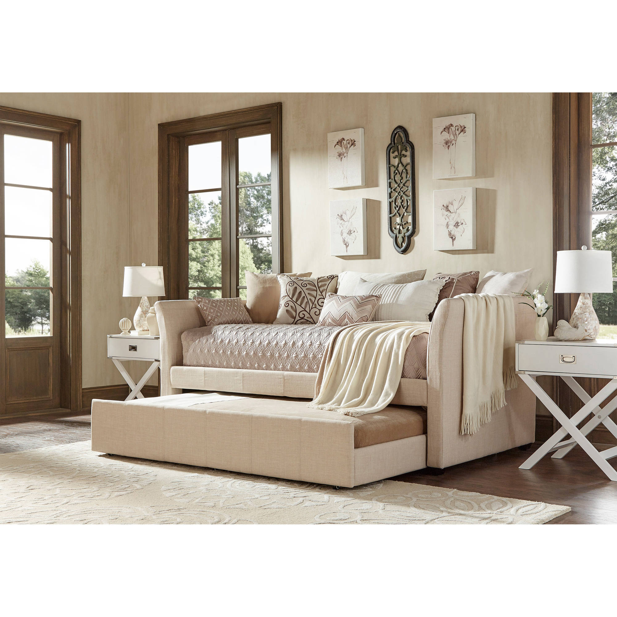 Chelsea Lane Curved Arm Linen Daybed with Trundle