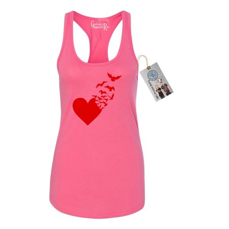 Valentines Day Heart Birds Shirt  Womens Racerback Tank (Bird Sleeveless)