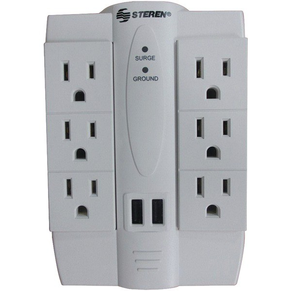 Steren BL-920-120 6-Outlet Swivel Surge Protector with 2 USB Ports