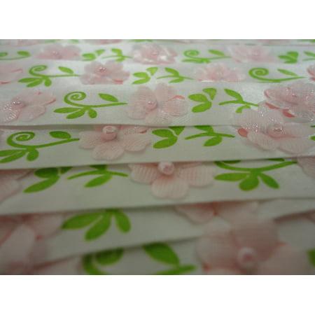 Charmed 5 Yds Pink Flower Bead Satin Trim Wedding Applique Sewing Craft DIY Ribbon
