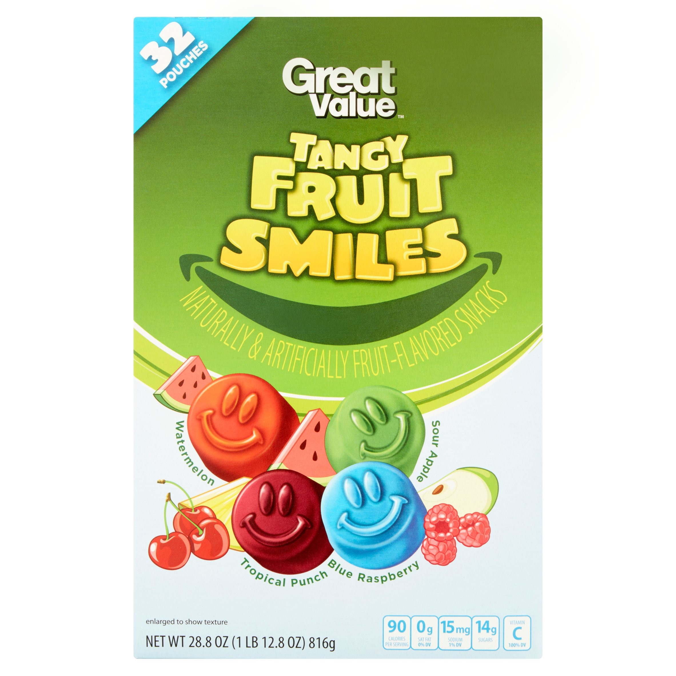 Great Value Fruit Smiles Fruit Snacks, Tangy, 0.9 Oz, 32 Ct