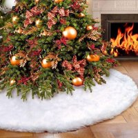 BadPiggies Long Plush White Snowflake Christmas Tree Skirt Base Floor Mat Cover Christmas Party Decor(48in)