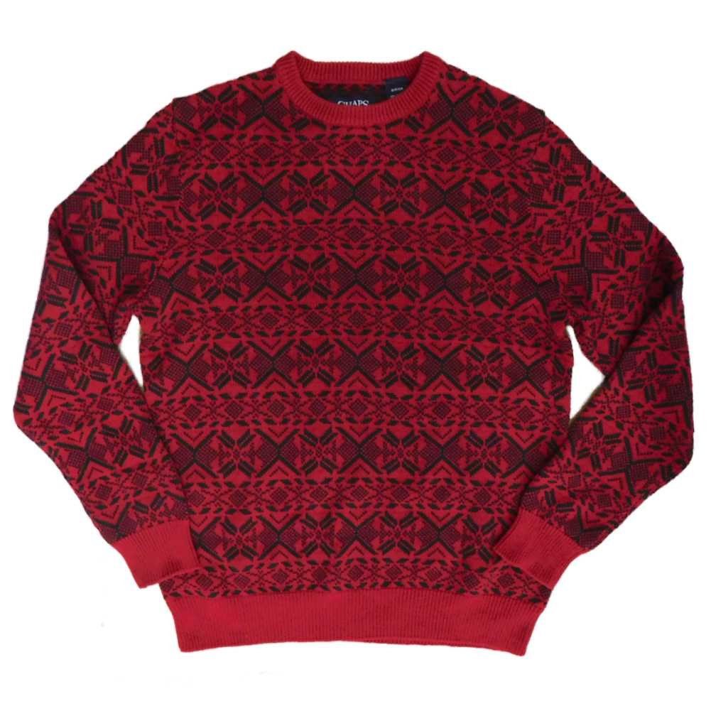 Chaps Mens Red/Black Fair Isle Christmas Holiday Pullover Sweater