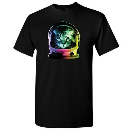 Space Cat Astronaut Men's T-shirt Black