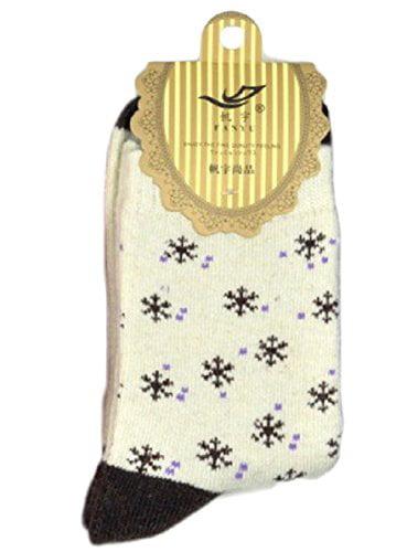 Lian LifeStyle 3 Pairs Girl's Angora Lambs Wool Socks Snowflakes Size 7-9 Casual(Beige)