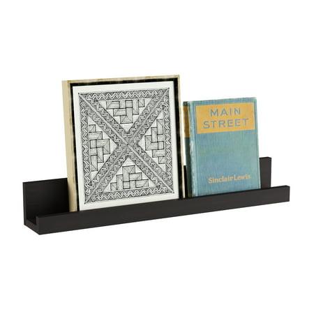 Floating Wall Ledge Shelf with Hidden Brackets by Lavish Home (Black)