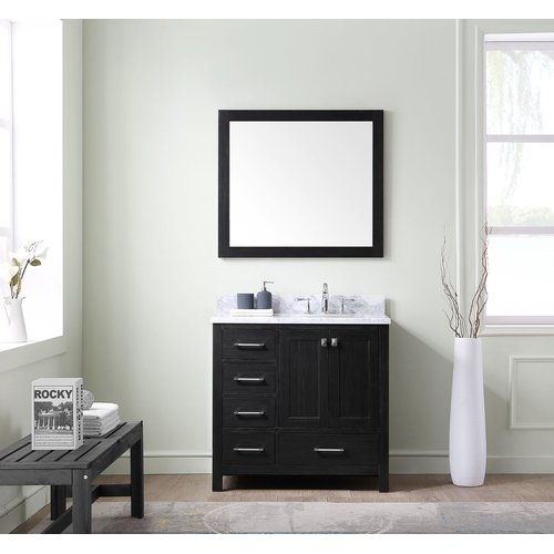 Virtu Caroline Avenue 36'' Single Bathroom Vanity Set with White Marble Top and Mirror
