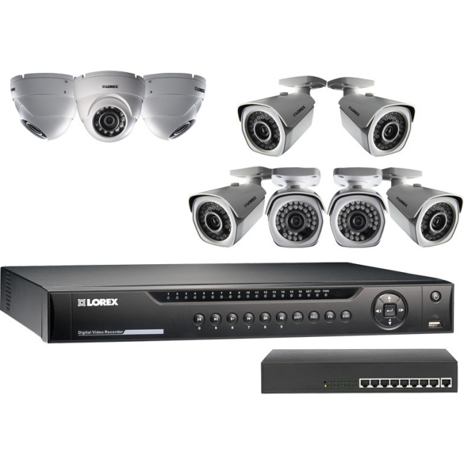 Flir Lnr4163tc9b 16-channel 1080p 3tb Nvr With 9 Cameras & Poe Switch