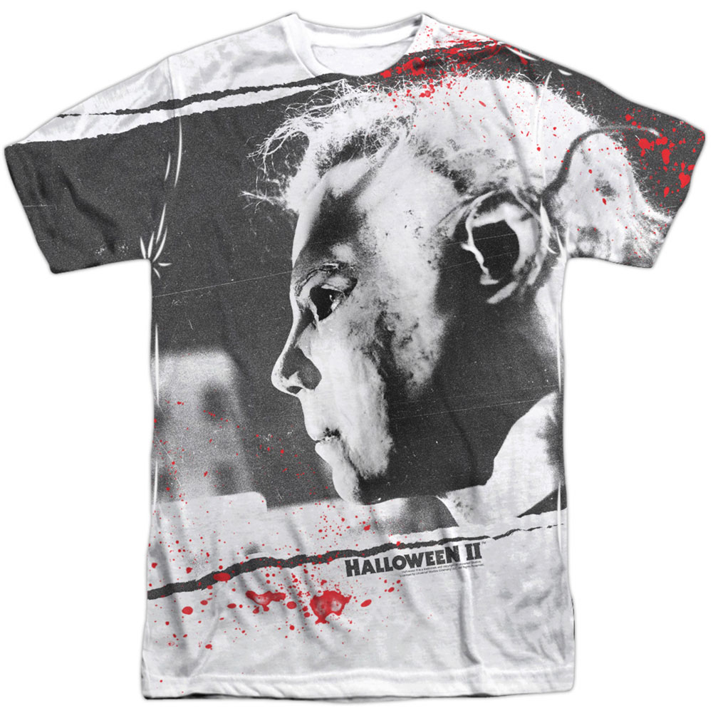 Halloween Men's  Myers Mask Sublimation T-shirt White