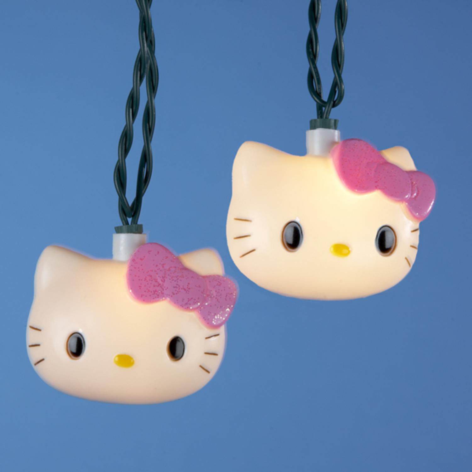 Set of 10 Hello Kitty with Pink Bow Novelty Christmas Lights