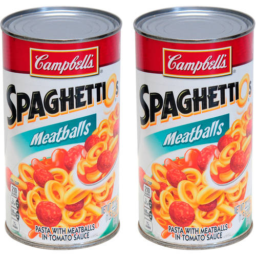 (2 Pack) Campbell's SpaghettiOs Canned Pasta with Meatballs, 22.2 oz. Can