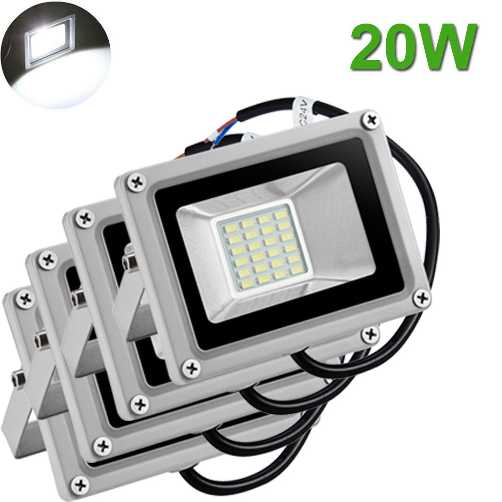 4X 20W LED Flood Light Outdoor Landscape Garden Lamp Waterproof Cool White 12V