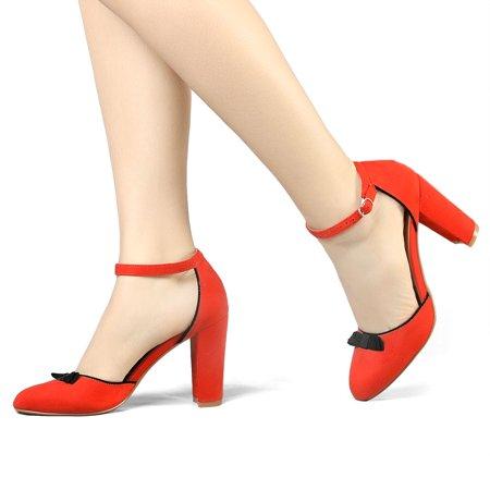 HF-6 Women Round Toe Bow Decor Block Heel Ankle Strap Pumps Orange Red/US 7 - image 5 de 7