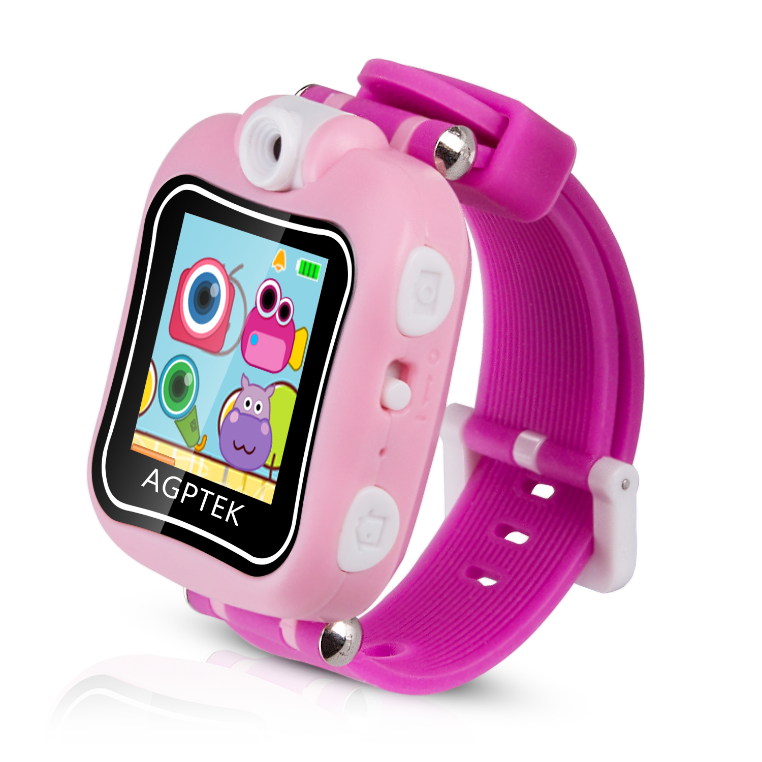 AGPTEK Kid Smartwatch with 90 Degree Rotating Camera, Video Recording, Games, Stopwatch, Alarm Clock, Red/Pink
