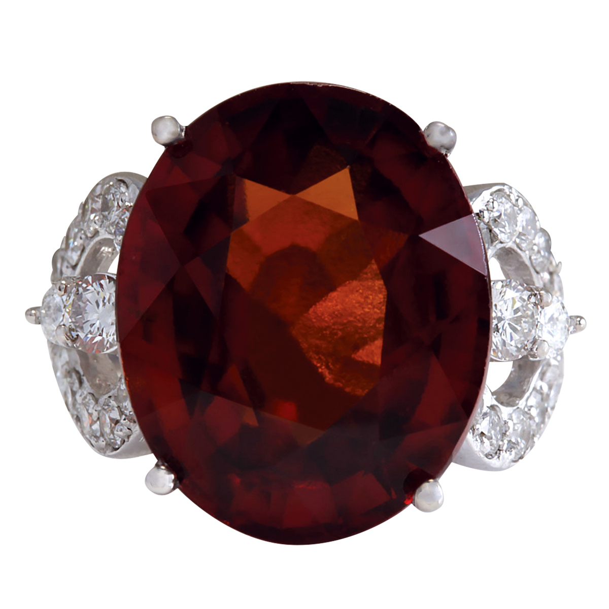 19.81Ct Natural Red Hessonite Garnet And Diamond Ring In14K White Gold by