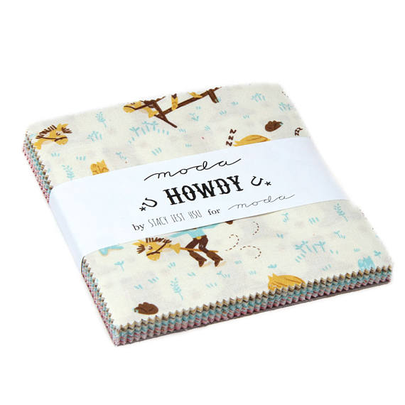 "Howdy Moda Charm Pack by Stacy Iset Hsu; 42 - 5"" Precut Fabric Quilt Squares"