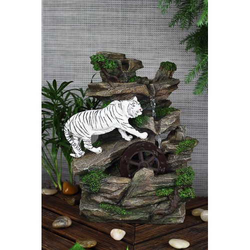 OK Lighting Resin Fibreglass White Tiger Table Fountain with LED Light by