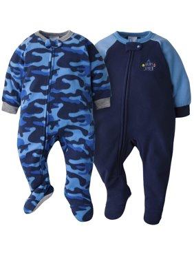 Gerber Baby Boy Microfleece Blanket Sleepers Pajamas, 2-Pack
