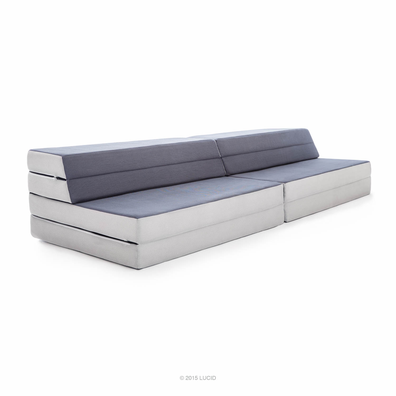 LUCID King Twin XL Convertible Folding Foam Mattress Sofa