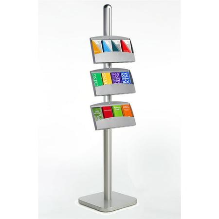 Leaflet Stand - Brochure Stand for Leaflets and Pamphlets, Floor Sign with 3 Steel Shelves, 75
