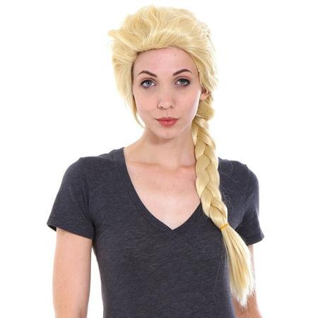Simplicity  Women's Frozen Elsa Adult Costume Wig for Halloween Light Blonde