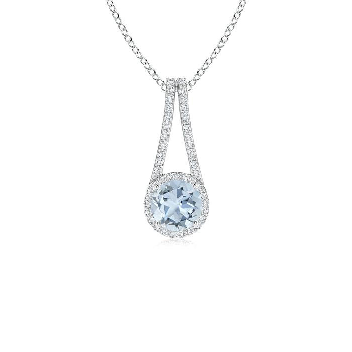 March Birthstone Pendant Necklaces Long V Bale Aquamarine and Diamond Halo Pendant in 950 Platinum (6mm Aquamarine)... by Angara.com