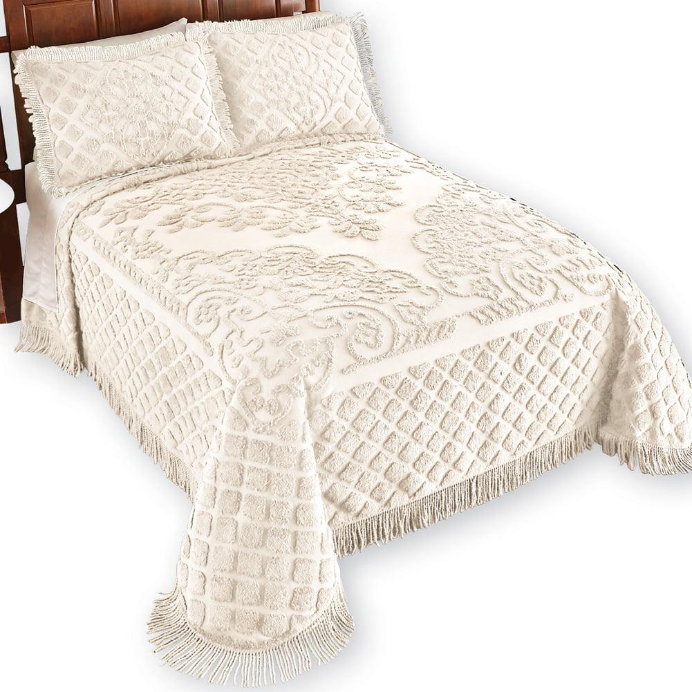 Elegant Chenille Lattice Scroll Design with Fringe Pillow Sham