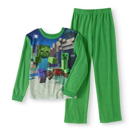 2182b0bf45ac Minecraft - Boys  Poly 2-Piece Pajama Set - Walmart.com
